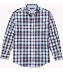 tommy hilfiger men's adaptive classic fit plaid shirt snow white/multi - s