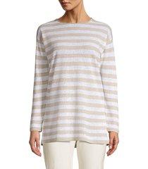 eileen fisher women's striped organic linen & cotton tunic - white black - size xxs