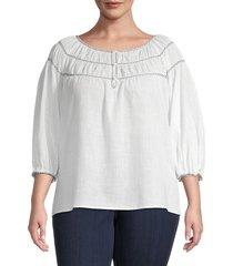 max studio women's plus cotton-blend bubble-sleeve top - white - size 3x (22-24)