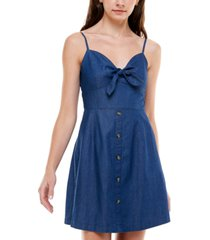 rosie harlow juniors' cotton denim fit & flare dress