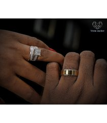 bride & groom trio engagement ring set diamond white gold plated 925 pure silver
