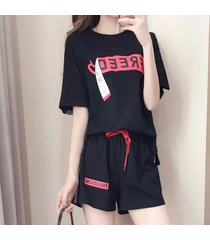 2pcs trajes de deporte cómodas carta modelo de manga corta mujeres camiseta + shorts