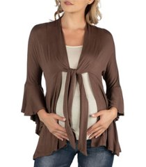 24seven comfort apparel three quarter tie front ruffle maternity cardigan