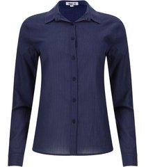 camisa cuello corbata rayas color azul, talla l