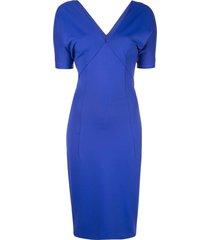 v-neck fitted dress blue
