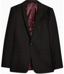 mens black super skinny fit single breasted suit blazer with notch lapels