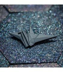 broszka porcelanowa origami żuraw czarna