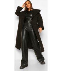 oversized nepwollen jas met grote kraag, black