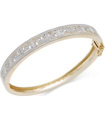 diamond accent greek key bangle bracelet in fine silver plated brass