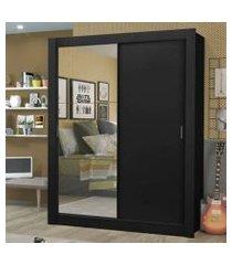 guarda-roupa solteiro madesa dallas plus 2 portas de correr com espelho 4 gavetas preto preto