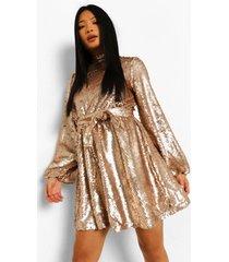 petite skater jurk met pailetten en hoge hals, gold