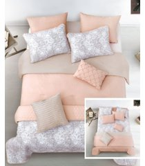 katie blush 8 pc full/queen layered comforter and coverlet set bedding