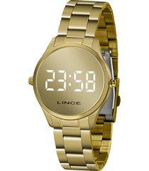 relógio digital lince feminino - mdg4617l bxkx dourado