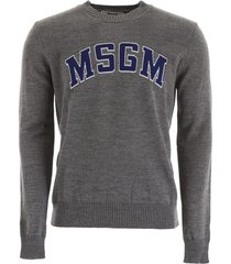 msgm pullover with logo intarsia