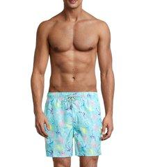 vintage summer men's ponji flamingo-print swim trunks - blue mint - size m