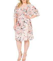 plus size women's standards & practices candice georgette wrap dress, size 3x - orange