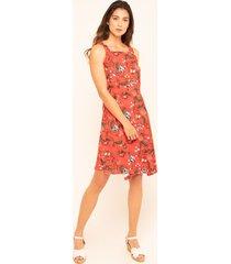 vestido mujer estampado en flores rojo 6