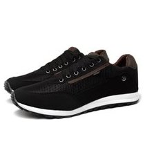 tênis masculino sapatênis casual sapatofran preto