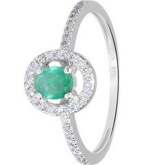 anello in oro bianco, smeraldo 0,29 ct e diamanti 0,19 ct per donna