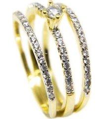 anel solitario e aparadores fino semijoia banho de ouro 18k cravacao de zirconias detalhe em rodio - feminino