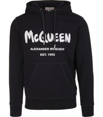 alexander mcqueen man black mcqueen graffiti hoodie