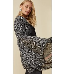 amaro feminino lenço animal print com listras, onca black