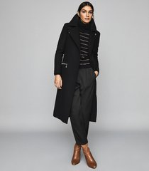 reiss anders - longline overcoat with zip detail in black, womens, size 10