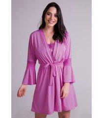 hobby roupão bravaa modas robe amarrar lingerie 241 rosa pink - kanui