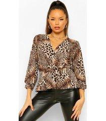 dierenprint wikkel blouse, tan