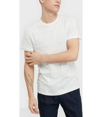 selected homme slhbrawley aop ss o-neck tee w t-shirts & linnen offwhite
