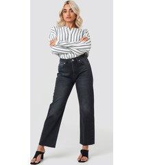 na-kd trend raw hem straight jeans - black
