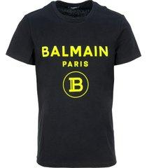 balmain cotton t-shirt with balmain paris logo print