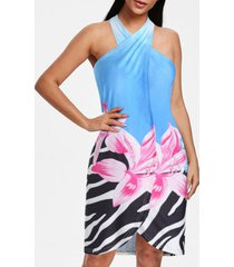 flower print halter wrap cover-up