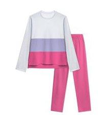 pijama manga longa moletom com recortes veggi