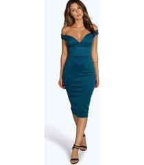 bodycon midi jurk met open schouders en hartvormige hals, blauwgroen