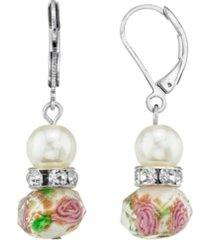 2028 silver tone faux pearl pink green beaded drop wire earring