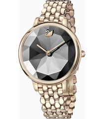 orologio crystal lake, bracciale di metallo, grigio scuro, pvd tonalitã oro champagne