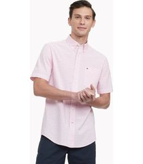 tommy hilfiger men's classic fit essential check shirt pink/white - xs