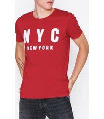 selected homme slhsimon city ss o-neck tee w t-shirts & linnen mörk röd