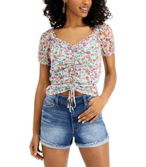 crave fame juniors' printed ruched mesh top