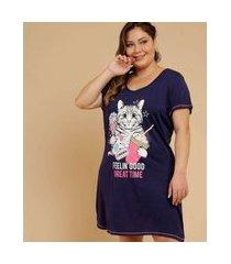 camisola plus size feminina estampa gato marisa
