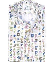 r2 shirt wit geprint multicolour