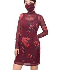 planet gold juniors' floral-print dot-mesh dress