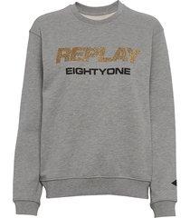 sweater sweat-shirt trui grijs replay