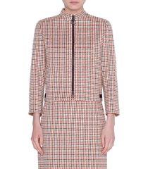 women's akris punto houndstooth jacquard cotton blend jacket