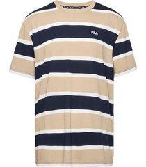 men makram dropped shoulder tee t-shirts short-sleeved beige fila