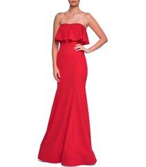 women's la femme strapless popover trumpet gown, size 18 - red