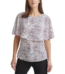 dkny printed cape-overlay top