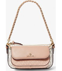 mk borsa a tracolla jet set 4-in-1 media bicolore con logo - ballet multi - michael kors