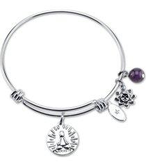 "unwritten ""breathe it all out."" namaste flower charm adjustable bangle bracelet in stainless steel"